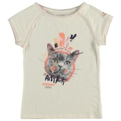 CKS T-shirt with short raglan sleeves and round neck for girls. Contrasting gold glittered neckline and sleeve seams. Multicolor cat's face print on the front. Girls Tees, Cat Face, Summer Girls, T Shirts, Kids Outfits, Sleeves, Mens Tops, Clothes, Things To Sell