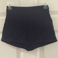 Black sparkle shorts Black with sparkle shorts with cut out lace layer. 98% nylon 2% spandex Charlotte Russe Shorts