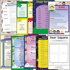 This full-color set of 8 charts includes eight essential visuals from the best-selling Four Square Writing series: Writing Process Guide, Levels of Support, Sentence Starters, Connecting Words, Proofr Classroom Decoration Charts, Classroom Borders, Four Square Writing, Connecting Words, High School Writing, Sentence Starters, Writing Process, Writing Workshop, Childhood Education
