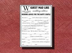 Printable Wedding Mad Lib A Fun Guest Book by WeddingsByJamie, $15.00
