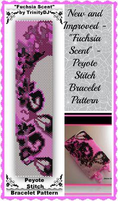 Peyote+Stitch+Designs | BP-AB-010 - Fuchsia Scent - Even Count Peyote Stitch Bracelet Pattern ...