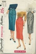 "An original ca. 1956 Simplicity Pattern 1690.  Junior Misses' and Misses' One Yard Skirt: Three, slim ""Simple To Make"" skirts ... each cut from one major pattern piece ... each made from 1 yard of 54"" fabric. All fasten with back zippers and button at back waistband. View 1 features pleat in front, saddle or top stitching, and buttons down center front. View 2 has pleat at lower edge of right front and button trimmed tab above pleat. View 3 boasts pleat at lower edge of center back seam."