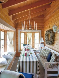 Kuisti. Meidän mökki -lehti. Cottage In The Woods, Lake Cottage, Shabby Chic Cottage, Knotty Pine Decor, Knotty Pine Walls, Cabin Homes, Log Homes, Cottage Dining Rooms, Swedish Decor