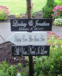 Vinyl wedding direction sign with arrows by OurHobbyToYourHome, $104.95