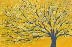 yellow, gray, black birds | Yellow & Grey Abstract Tree Painting - by Louise Mead from Whimsical ...