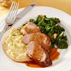 Try this Ancho-Honey Pork Tenderloin with Cheese Grits Recipe from @EatingWell.
