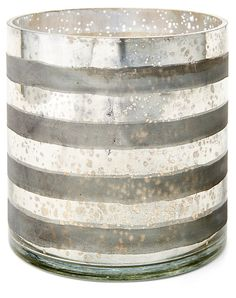 """7"""" Striped Glass Vase, Silver 