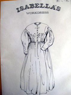 Isabella's Workdress, Civil War era day dress Pattern Med-Lg-XLG included…