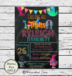 Trolls chalkboard birthday party invitation by TwinkledSpice #trollsbirthday #trollsparty #trollsinvitation