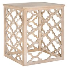 An eye-catching addition to your living room or den, this square end table showcases a neutral grey hue and openwork quatrefoil base.   ...