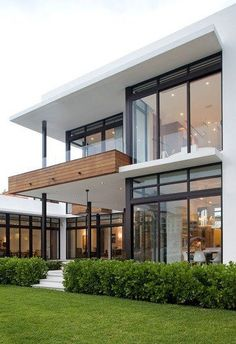 A modern minimalist home architecture is now a development. Subsequently, many individuals excited to design it. Moreover, it is easy and additionally look stylish. No surprise if this style is now frequent Modern Exterior House Designs, Dream House Exterior, Modern House Design, Exterior Design, Modern Contemporary House, Cafe Exterior, Ranch Exterior, Exterior Shutters, Exterior Signage