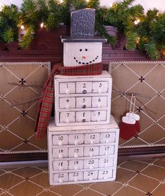 Cubie the Snowman, a unique wooden advent calendar-Christmas- warm aged finish-individual wooden drawers.