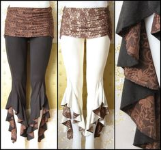Tribal Belly Dance Hula Hoop Festival Pants with Brown Lace Detail and Overskirt…