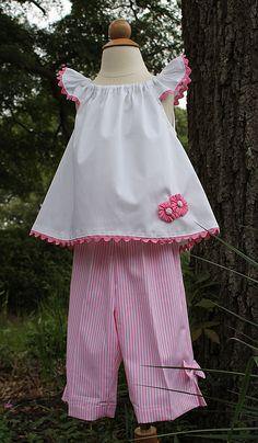 """Candy Stripe"" Top & Capri Two-Piece, Pattern by Olive Ann Designs & Children's Corner - Farmhouse Fabrics, LLC Little Dresses, Little Girl Dresses, Girls Dresses, Baby Dresses, Dress Girl, Sewing For Kids, Baby Sewing, Toddler Dress, Toddler Girl"