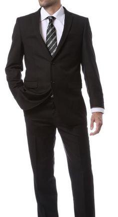 Ferrecci Tailored Men's Slim fit solid color Black  Suit Flat front style pants  #FerrecciF22VHAR #SLIMFIT