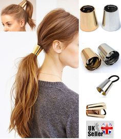 HAIR CUFF METAL PONY TAIL RING WRAP CURVED GOTHIC PUNK CONE HOLDER ELASTIC DANCE
