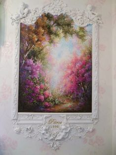 Rococoornamental scroll wall mural, Impressionism painting .       Side mural in my dining room with a little ornamental work wasnt sure...