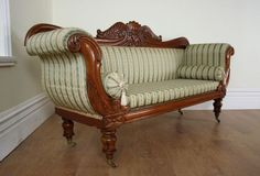 ANTIQUE ENGLISH MAHOGANY WILLIAM IV DOUBLE SCROLL END UPHOLSTERED COUCH (CIRCA 1830 - 1840)