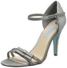 Blue by Betsey Johnson Women's SB-Bow Dress Pump,Silver Satin,8.5 M US