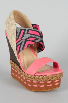 Bumper Lea-09 Geometric Print Open Toe Platform Wedge