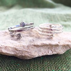 Coming soon! These rings were featured on my Peat Fire Jewelry Instagram page. The oxidized ring is fine silver- hammered and stamped with the Celtic Spiral of Life; the shiny ring has been stamped with Celtic symbols and then shaped on my mandrel. ❤️☘️
