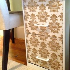 Give your standard filing cabinet a chic makeover.