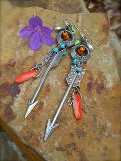 ARROW earrings hunger games tribal WESTERN earrings silver chain earrings long earrings hoops boho hippie gypsy earrings.