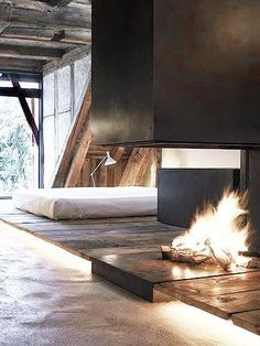 Fireplace in a bedroom interior decoration architecture Bedroom Fireplace, Open Fireplace, Fireplace Modern, Fireplace Surrounds, Fireplace Design, Interior Exterior, Exterior Design, Interior Plants, Architecture Design