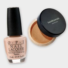 This opaque nude nail polish is always work appropriate, while the foundation can be dust on to quickly cover zits and discoloration. Click through for 14 more of the best beauty products to look polished and professional at work. #WHBeautyAwards