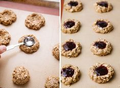 These Oat Jam Thumbprint Cookies are made with oat flour and rolled oats, berry jam, and sweetened with pure maple syrup for a wonderful breakfast, snack or dessert! Jam Thumbprint Cookies, Pure Maple Syrup, Oat Flour, Gf Recipes, Healthy Cookies, Healthy Desserts, Berries, Rolled Oats, Snacks