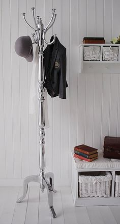 Kensington silver metal Bentwood coat stand from The White Lighthouse Hallway furnishings. Luxurious White hall furniture and accessories. Hall Furniture, White Furniture, Furniture Sale, Furniture Ideas, Furniture Websites, Hallway Coat Storage, Coat Stand Hallway, Gray Console Table, Ideas Vintage