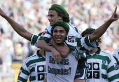Mario Jardel and Joao Pinto celebrate being Champions