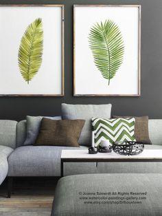 Hoja tropical Palm Beach cartel verde hojas de por ColorWatercolor