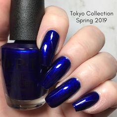 This is Chopstix and Stones from OPI Spring 2019 Tokyo Collection it is blue base with blue shimmer opaque in 1 2 coats depend on your application It stamps well on light background looks good with matte top coat Opi Gel Polish, Gel Polish Colors, Spring Nail Colors, Spring Nails, Fancy Nails, Pretty Nails, Christmas Manicure, Nail Decorations, Blue Nails