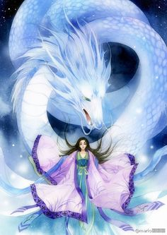 Traditional Chinese illustrations by Sichuang, China based illustrator He Lu, aka Mario. He Lu has created illustrations for a number of comics. Mythical Creatures Art, Magical Creatures, Mononoke Anime, Dragon Artwork, Dragon Pictures, Beautiful Fantasy Art, Anime Fantasy, Fantasy Artwork, Anime Art Girl