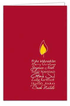 Weihnachtskarte Textkerze - mehrsprachige Weihnachtsgrüße - Rot - mit Umschlag in Goldmetallic