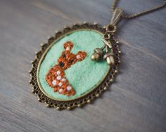 Fawn necklace embroidered - so cute!