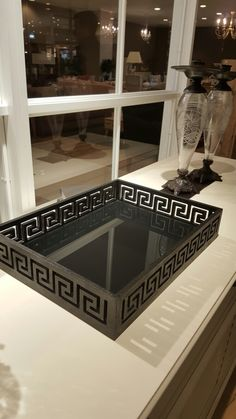 Tray . Wood tray with 4mm black glass