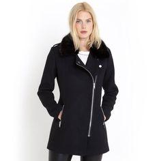 Manteau fermeture asymétrique 50% laine R Essentiel prix promo Manteau Femme La Redoute 74.99 €