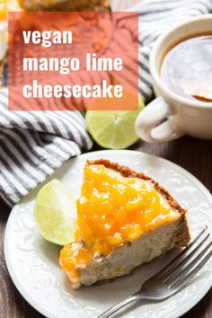 never guess this luscious vegan cheesecake was dairy-free! Rich, creamy, and topped with a sweet and zippy mango lime topping, this one is about to become your new favorite dessert. Vegan Dessert Recipes, Delicious Vegan Recipes, Vegan Sweets, Dairy Free Recipes, Vegan Food, Vegan Dishes, Vegetarian Desserts, Healthy Recipes, Veg Recipes