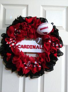 Arizona Cardinals wreath, NFL Wreath,Team Wreath, Burlap Wreath, Football Wreath by Craftsbyneva on Etsy