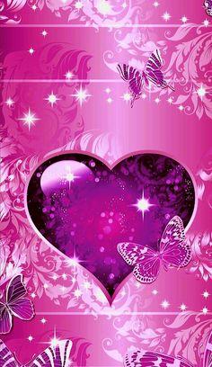 Purple Hearts and butterflies. Flowery Wallpaper, Butterfly Wallpaper, Love Wallpaper, Purple Candy, Purple Love, All Things Purple, Heart Iphone Wallpaper, Cellphone Wallpaper, Cool Backgrounds Wallpapers