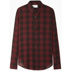 Isabel Marant Étoile Ipa Shirt (335 CAD) ❤ liked on Polyvore featuring tops, shirts, flannels, blouses, flannel shirt, flannel tops, burgundy long sleeve shirt, red top and red flannel shirt