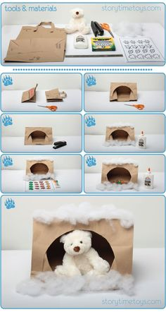 Learn how to make a cute and easy paper bag cave for Preschoolers with their stuffed bear to hibernate in this winter! Learn how to make a cute and easy paper bag cave for Preschoolers with their stuffed bear to hibernate in this winter! Bear Crafts Preschool, Preschool Projects, Kindergarten Crafts, Animal Art Projects, Animal Crafts For Kids, Winter Crafts For Kids, Preschool Winter, Winter Activities, Art Activities