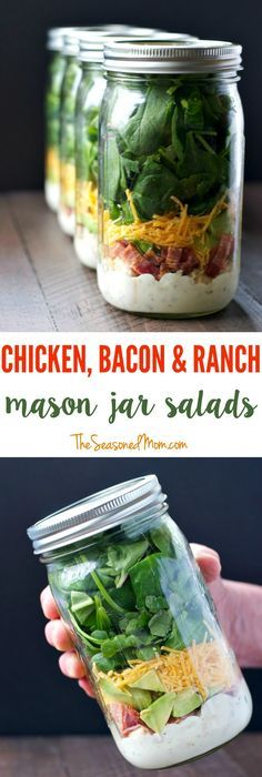 Chicken Bacon and Ranch Mason Jar Salads Layering ingredients in a jar is the most effective way to prepare a salad ahead of time and still keep everything fresh for days. Make these Chicken Bacon and Ranch Mason Jar Salads and you will have delicious and Mason Jar Lunch, Mason Jar Meals, Meals In A Jar, Mason Jars, Healthy Snacks, Healthy Eating, Healthy Recipes, Essen To Go, Chicken Bacon