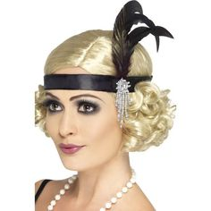29 Black Razzle Style Charleston Women Adult Halloween Headband - One Size - 33484519 - - Invest in this black satin Charleston headband when you have a dilemma in styling your hair. This unique headband gives a stylish look to your face. Gatsby Fancy Dress, Gatsby Hair, Flapper Headpiece, 1920s Hair, Fascinator, 1920s Flapper, Flapper Makeup, Diy 20s Makeup, 1920s Style Hair