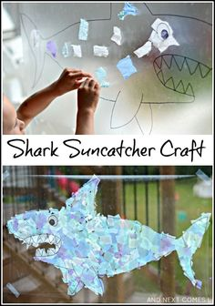 Giant shark suncatcher craft for kids from And Next Comes L