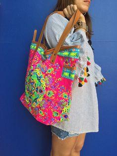 P-Pink Weekender Bag Gift for her Bohemian Large Tote Canvas bag Beach bag Boho Bag Purse woman clot Hippie Bags, Boho Bags, Bohemian Bag, Tribal Bags, Burlap Bags, White Tote Bag, Red Handbag, Beach Tote Bags, Weekender