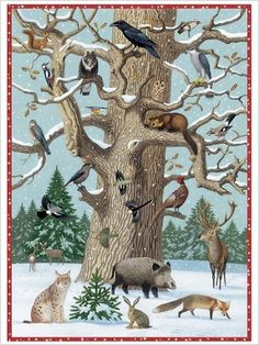 baum im winter - New Ideas Winter Illustration, Children's Book Illustration, Illustrations, Snow Theme, Animal Tracks, Animal Crafts For Kids, Painted Stairs, Animal Posters, Winter Kids