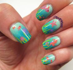Under the Sea Nails Love this! I need to learn how to do this! Fish Nail Art, Ocean Nail Art, Fish Nails, Beach Nail Art, Beach Nail Designs, Sea Nails, Gradient Nails, Cruise Nails, Vacation Nails